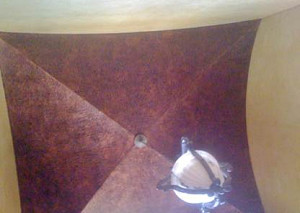 Faux Hammered Copper Groin Ceiling