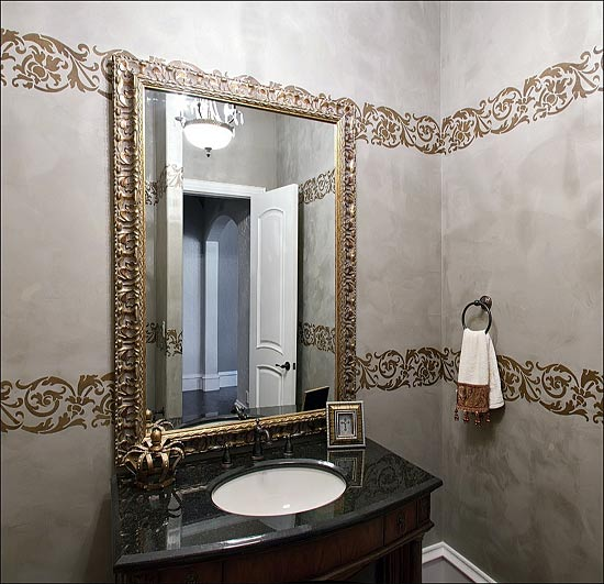 Powder Room - Stenciled Metallic Plaster